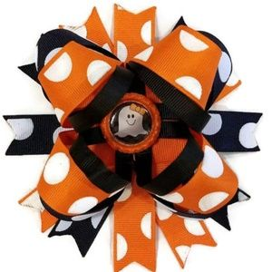 """Other - Halloween Ghost 6"""" Boutique Stacked Hair Bow"""